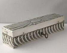 Rare Victorian Solid Silver Shaving Razor Box - Comyns London 1900.