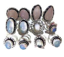 Bulk Sale 100 PCs. Opalite & Rose Quartz 925 Sterling Silver Plated Ring Jewelry
