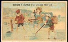 Chromo Cirages français Pêche Pêcheur scène enfantine fishing épuisette