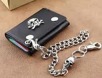 Mens Genuine Leather Motorcycle Trucker Biker Wallet With Skull Pants Chain WS02
