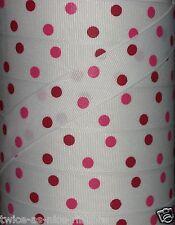 "5 yds 7/8"" Valentine Valentine's Day White Red Pink Polka Dot Grosgrain Ribbon"