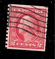 US Sc# 444 2 cent WASHINGTON  Used  Coil Light  Cancel