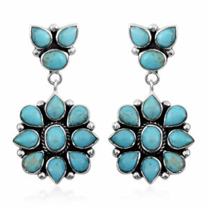 Turquoise 925 Sterling Silver Santa Fe Style Earrings Party Jewelry Gift 6.5 Cts