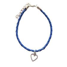 Navy Blue Open Heart Leather Anklet,Boho,Bohemian,Ankle Bracelet,Valentines Day
