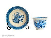 Antique English Staffordshire Blue Spatterware Art Pottery Tea Cup & Saucer