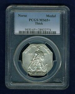U.S. 1925  NORSE-AMERICAN COMMEMORATIVE MEDAL, UNCIRCULATED CERTIFIED PCGS-MS65+