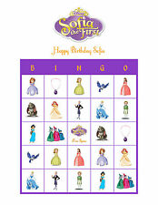 Sofia the First Disney Personalized Bingo Cards Birthday Party Game