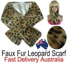 Faux Fur Animal Neckwarmer Stole Scarf  Beige Brown Leopard Print Collar SOFT