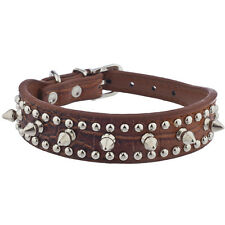 Lux Accessories Brown Crocodile Leather Silver Spike Stud Cat Dog Collar