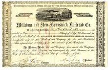 1875 Millstone & New Brunswick New Jersey Railroad Company Stock Certificate