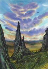 original painting A3 433ShA art samovar watercolor Realism landscape sunset