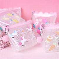 Women Mini Unicorn Coin Purse Fruit Print Transparent Wallet Pouch Card Holder--