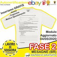 T-Shirt Autocertificazione Maglietta Personalizzata Ricordo Modulo 04/05 Uscire
