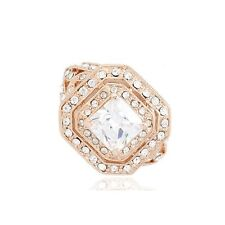 VINTAGE INSPIRED LARGE 18K ROSE GOLD PLATED GENUINE CUBIC ZIRCONIA CLEAR RING