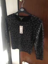 Lipsy Jumper Size 8 Black Leopard Glittery Bnwt