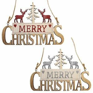 Merry Christmas Wooden Hanging Sign with Reindeer and Tree - Choose Colour