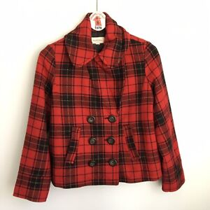Merona Red Plaid Double Breasted Pea Coat Jacket Size XL Lined Pockets Wool