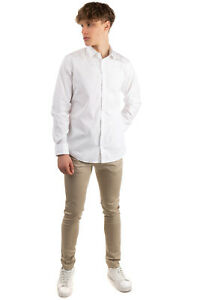 RRP€235 DSQUARED2 Shirt Size 52 / XL White Round Hem Button Front Regular Collar