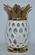 BATH BODY WORKS GOLD WHITE CERAMIC PINEAPPLE LARGE CANDLE HOLDER 3 WICK LUMINARY