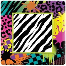 ANIMAL PRINT Totally 80s LARGE PAPER PLATES (8) ~ Birthday Party Supplies Dinner