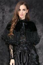 Dark In Love Gothic Black Velvet, Hooded Bolero Shrug, Cape Victorian BW038