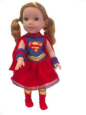 """Super Girl Dress Costume Set Fits Wellie Wishers 14.5"""" American Girl Clothes"""