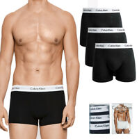 Calvin Klein Men's 3 Pack Underwear Cotton Stretch Boxer Briefs Trunks Black
