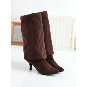 Womens Fashion Faux Suede Kitten Heels Pointed Toe Over The Knee Pull On Boots