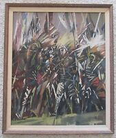 BARROIS SIGNED ABSTRACT TRIBAL CHIEFS MODERNISM  EXPRESSIONISM PAINTING VINTAGE
