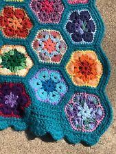 HANDMADE Crochet AFGHAN Knit Vintage Floral FLOWER Quilt COUCH Lap BED BLANKET