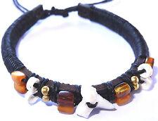 Bracelet Dent de Requin Véritable Bijoux Bresilien Shark Tooth Surfeur Cuir Noir