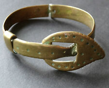 antique Edwardian belt buckle brass bangle bracelet trench art WWI -C377