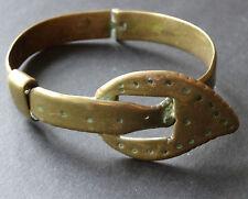 antique Edwardian belt buckle brass bangle bracelet trench art WWI -C377