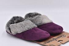 Women's Dearfoams Fall / Winter Velour Bootie, Aubergine Purple, Small 5-6