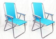 2X Turchese Blu Pieghevole Sedia Spiaggia Pesca Campeggio Giardino mobili per esterni