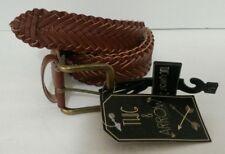 New Women's Twig & Arrow Brown Braided Woven Belt SZ M Medium Faux Leather 1005