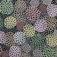 AUSTRALIAN ABORIGINAL QUILTING FABRIC - DANCING FLOWERS BLACK by FQ and METRE