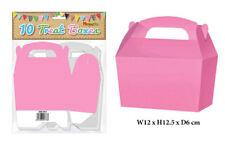 10 Neon Pink Treat Boxes - Small Cupcake Food Loot Cardboard Gift