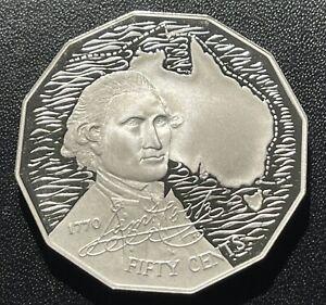 Australia 1989 50 Cent Silver Proof Coin:  Cook Commemorative- Mintage 25k