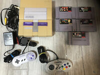 Super Nintendo SNES Console Bundle 5 Games 2 Controllers Donkey Kong Country 3 !
