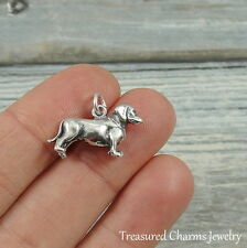 925 Sterling Silver Dachshund Charm - Wiener Dog Doxie Doxen Pendant NEW