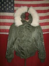 Vtg USAF N-2B Extreme Cold Weather Attached Hood Flying Jacket .LARGE .SCOVILL