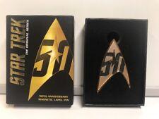 Qmx Star Trek 50th Anniversary Magnetic Lapel Pin With Box