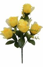 5 Roses Yellow Sheer Petals Wedding Bouquet Silk Flowers Centerpieces