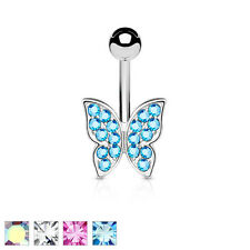 Crystal Paved Butterfly Surgical Steel Belly Bar / Navel Ring