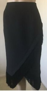 Grace Hill Skirt Black Size 10 Straight Pencil Style Fringed