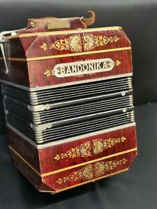 """Antike Harmonika """"Bandonika"""" Meinel & Herold Sachsen, Klingenthal Bandoneon Rar"""