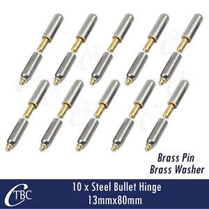 10 x Hinge Steel Bullet 13mm x 80mm Greasable Brass Pin & Washer Trailer Door