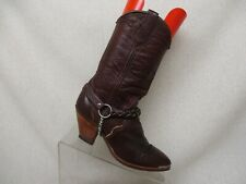 Burgundy Leather Harness Pull On Cowboy Western Boots Womens Size 5 M