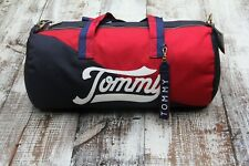 TOMMY HILFIGER Red Blue Logo Medium Size Duffel Shoulder Gym Travel Bag $128 NEW